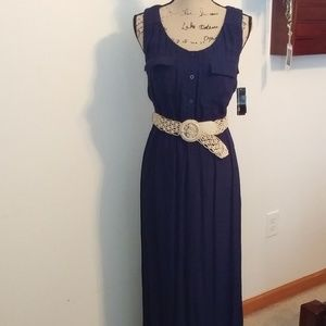 NEW AGB BLUE MAXI DRESS WITH BELT SZ SMALL